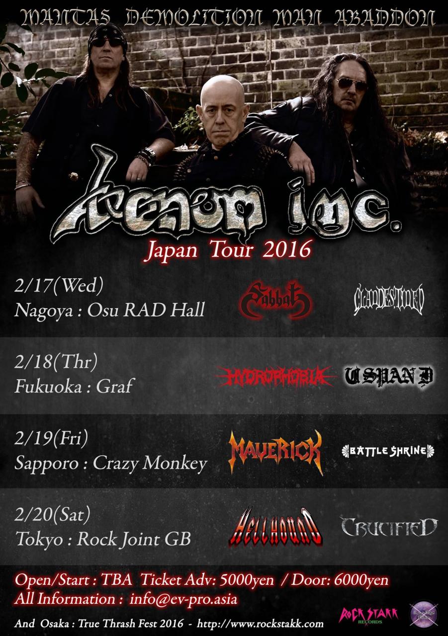 Venom Inc. Japan Tour 2016<br> 札幌公演 MAVERICK参加決定